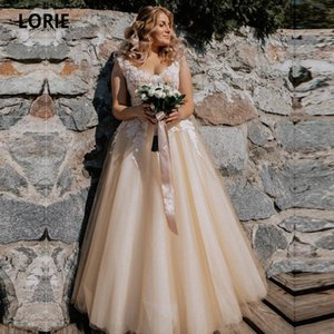 LORIE Champagne Wedding Dress Vintage 2020 Appliques Lace Bridal Gowns Soft Tulle Sleeveless vestido de noiva Lace-up no Train