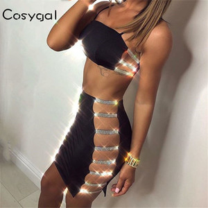 COSYGAL Spaghetti Strap Deux pièces Robe Femmes évider cristal sexy robes de Noël Night Club Party Brillant Robes Robes