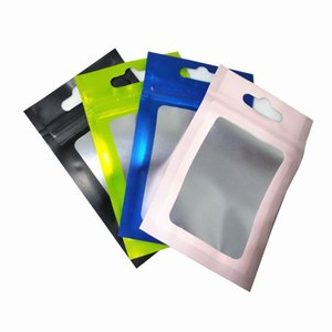 Resealable Aluminum Foil Packaging Zipper Mylar Pouches with Hang Hole Plastic Bag for Snack Electronic Accessories Storage Bags