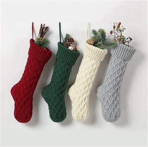 Christmas Acrylic Knitted Socks Red Green White Gray Knitting Stocking Christmas Tree Hanging Gift Sock Xmas Candy Stockings SN