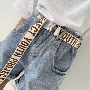Canvas Belts For Women Men Casual D Buckle 130cm Long Letters All-match Jeans Female Black Fashion Designer Harajuku Waistband