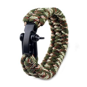 23cm EDC survie Bracelets Camping Randonnée d'urgence tactique de survie Tressé sauvetage parapluie corde Bracelets corde de parachute Paracord