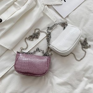 Candy Color Chain Design Small PU Leather Shoulder Bags For Women 2020 Crocodile Pattern Leather Handbags Ladies Small Totes