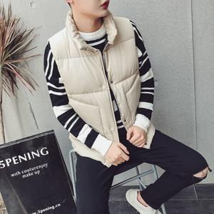 Autumn winter 2020 men down vests collar pure color trend handsome cotton vest
