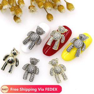 Carino Nail dell'orso 3D di arte della decorazione lussuosa Zircon lega lucido cristallo carponi mobile manicure Accessori Design