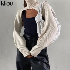 Kliou Jersey Solid Maglione Donne 2020 Autunno Turtelneck ultra sexy Breve Backless Pullover All-corrispondenti Female Outfits Crop Tops