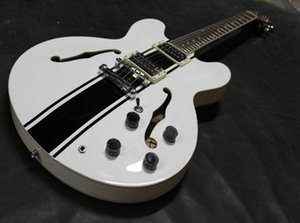 Custom Shop ES 333 Tom Delonge Signature Semi Hollow Body blanc rayé noir Jazz guitare électrique Trous Double F, Dot Inlay, Grover Tu 3105 #