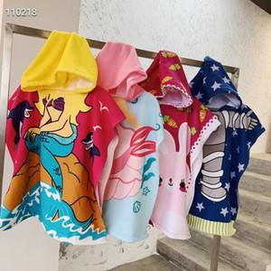 الأطفال كيب منشفة حمام شال الكرتون المطبوعة البشكير ستوكات شاطئ ثوب الحمام منشفة الشاطئ مقنعين