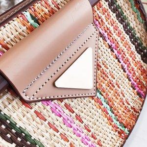 2020New Designer Desigenr-полукруглые соломенные мешки сумки сумки для кошельки Средняя сумка сплетена вдохновленная зимняя ротанга бренд женщины пляжная сумка цепь HAN CXEG