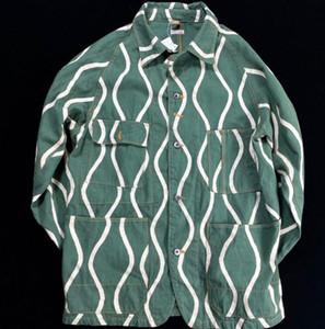 20SS Kapital vague d'eau tangcao décharge linge de coton tendance rétro veste de teinture pleine toile impression vieux casual bande