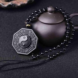 New 100% Natural Black Obsidian Yin Yang Taiji Gossip Lucky Amulet Pendant Beads Chain Necklace For Women Men Chinese Jewelry