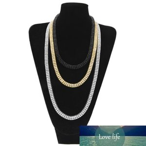 20-30Inches Iced Out Bling Rhinestone Men 10mm 2 Row Tennis Chain Gold Silver Black Size Jewelry