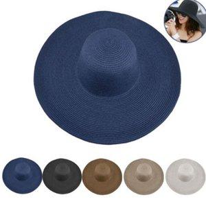 Praia Hat Mulher dobrável de aba larga Caps Chapéus Mar Cap Sun Beanie Pure Color Straw Outdoor Férias Summer Fashion Hats AAB1254