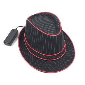 LED Blinking Flashing Jazz Cap Light Up Fedora Hat Uses EL Wire Bright Hat For Party Concert Stage Show 2020