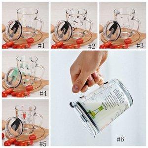 400ml di misurazione tazza di vetro Kid latte Laureato bottiglia tazze di vetro Acqua Birra tazze di caffè bambini del fumetto di tazza di latte con il coperchio GGA3236 zjUl #