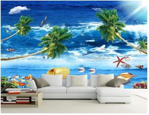 murais 3D papel de parede Photo costume 3d papel de parede papel fresco Seaview Bela Vista do mar Mediterrâneo mural Estilo TV Sofá parede