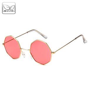 MLLSE Marke Fashion Octagon Sonnenbrillen für Frauen Retro Metallrahmen UV400 Frauen-Sonnenbrillen