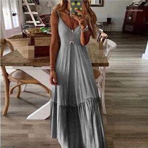 Breathable Ladies Dresses Summer Womens Dress Loose V Neck Gradient Color Strapped Designer Dress Casual