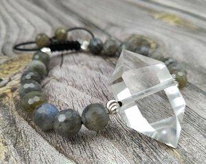 YA4004 chiari e naturali duplice punto Labradorite Perline pietra di quarzo cavo braccialetto del nodo Regolare 6.5inch lungo