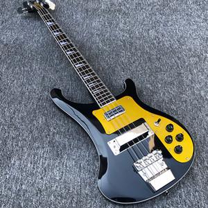 2020 nuova chitarra elettrica, 4003-4 String Bass, vernice nera, rosa tastiera, pannello a specchio oro, consegna gratuita