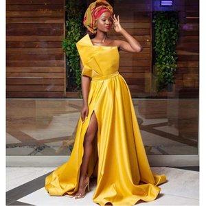 2021 Satin Long Evening Dresses High Slit Elegant A Line Plus Size African Black Girl Prom Dress 2020 vestidos Special Occasion