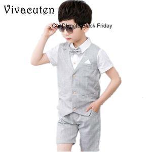Boys 2PCS Vest + Shorts with Bow Tie Kids Summer Clothing Sets Gentleman Children Wedding Party Wear Plaid Formal Suits Dress