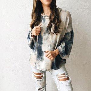 Kapuze Kontrast-Farben gedruckt Oberseiten-beiläufige Straßen-Art weibliche Kleidung Herbst Womens Designer-T-Shirt Langarm