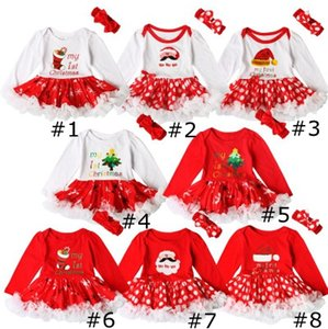 Christmas Lace Puffy Two-piece Dress Long Sleeve Sleeve Baby Girls Rompers Tutu Santas Christmas Tree Socks Printed Baby Bubble Skir EEA1924