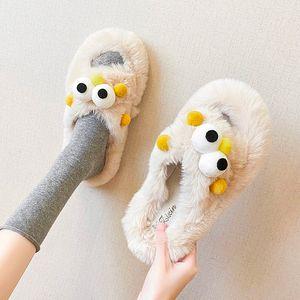 Hot Sale- Shoes Women Slippers Casual Winter Footwear Slides Pantofle Fur Flip Flops Flock Soft Luxury Flat 2020 Plush with fur Rubber