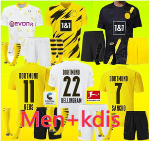 Borussia 2020 2021 성인 남자 아이들 Dortmund Haaland 축구 유니폼 키트 20 21 위험 Gotze Reus Witsel Paco Alcacer 3 세트 축구 셔츠