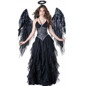 Mujer oscuro Ángel atractivo del traje de Halloween de la mujer 3pcs Mujeres bruja Negro correa de espagueti del remiendo del acoplamiento de Cosplay Vestidos