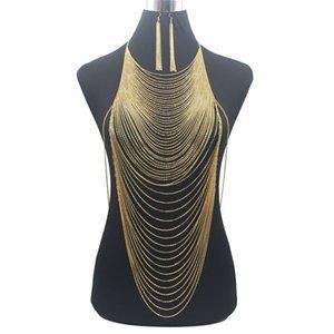 Luxo Moda brilhante Sexy Belly cadeia Gold Silver Cor Full Body Jewelry Bra Slave Harness borla cintura