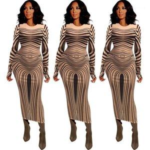 New 20FW Frauen Kleidung Sexy durchschauen Frauen Kleider Art und Weise Striped Langarm-Mesh-Bodycon Kleider