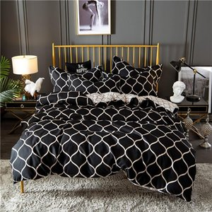 Nordic Negro Rejilla Consolador Sistemas del lecho Rey cubierta del Duvet de textiles para el hogar suave Queen Juego de cama