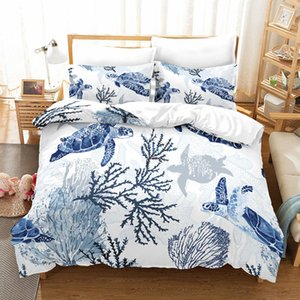 Turtle cama Set Sea Turtles edredon cobrir gêmeo Rainha King Size Lençóis Consolador Define Têxtil de casa
