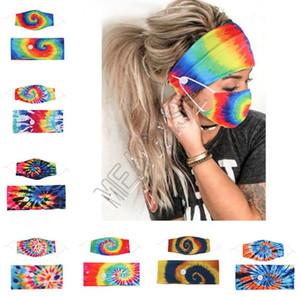 Bandeau Masque 2Pcs / Set porte-masque visage Bandeaux avec le bouton Hairband Concepteurs Soie Spirale Tie Dye Masques Masques élastiques tête Bandes D81808