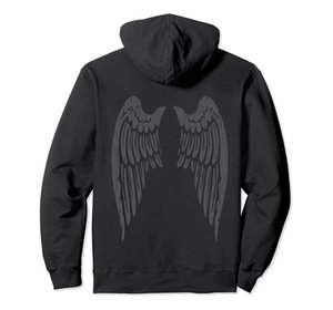 Black Angel Wings Back Hoodie Unisex Size S-5XL with Color Black Grey Navy Royal Blue Dark Heather for Men and Women
