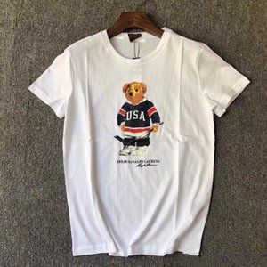 High quality fashion luxury design printed bear T-shirt short sleeve 100% pure cotton casual fashion bear T-shirt for men