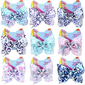 Leopard JOJO Siwa Hair Clips 2020 Girls 8inch Bow Barrettes Pearl Ribbon Bow Hairpins jojo siwa Kids Clip HHA1556