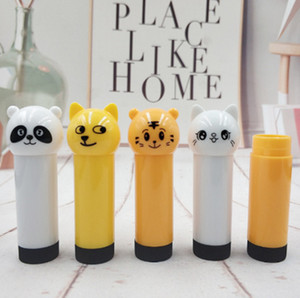 2020 neue DIYCute Mini Doll Lippenstift Kinder Cartoon Tier, Tiger Panda Plastik Lippenstift
