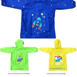 Детские дождевики мальчики Schoolbag плащ шляпу и девочки Большого шляпы зрачки детский сад ребенок с Schoolbag пончо