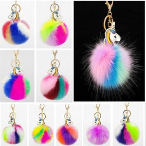 13 cores Fofo Fur bola Pom Keychain Designers de sacos bolsa Pingente Car chaveiro com liga metálica cute grampo titulares de pelúcia Balls chave E83101