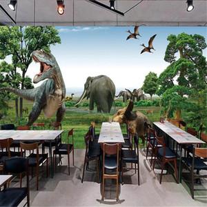Milofi grand papier peint peinture murale enfants à travers le temps et l'espace dinosaure mur de fond Jurassic 3D