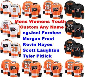 Mens Personalizza Philadelphia Flyer Jerseys Joel Farabee Jersey Morgan Frost Tyler Pitlick Scott Laughton Hayes Ice Hockey Jerseys cuciti
