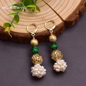 GLSEEVO Оригинальный дизайн Природный зеленый камень пресной воды Pearl мотаться серьги для женщин Мать Anniversary Этнические украшения GE0961A