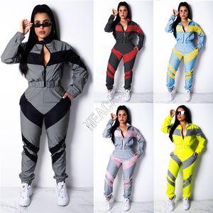 Femmes Veste d'hiver Crop Zipper Coat Chemises et pantalon deux pièces Outfit Automne manches longues Survêtement Color Match Patchwork sport D82404