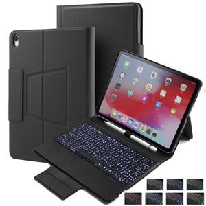 Caja del teclado retroiluminado para Ipad Pro 12 0,9 2018 con el lápiz soporte del sostenedor teclado inteligente cubierta de la caja del folio con el inalámbrica Bluetooth