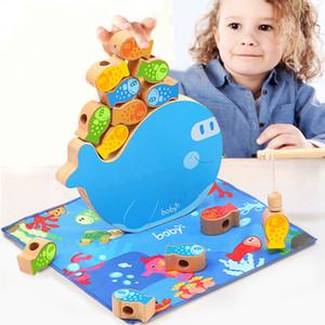 Infant Holzperle Spielzeug Magnetic Fishing Spiele Cognitive Jenga Spiel für Kinder 3D-Fisch-Baby-pädagogischen Spielzeug Lustige Früh Baby-Geschenke
