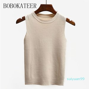 Sıcak Satış BOBOKATEER seksi kolsuz t shirt kadın giysileri poleras mujer de moda 2020 yaz üst beyaz kadın gündelik tişört femme tişörtleri