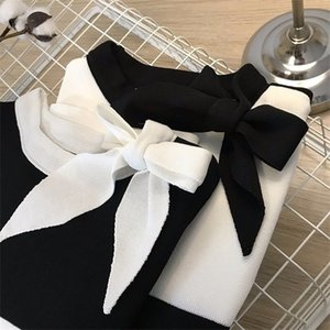 Patchwork Bow short sweater women elegant knitted crop pullover Korean fashion basic slim sweaters 2020 new arrival 0925